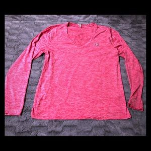 Under Armour Pink Athletic long sleeve Top VNeck